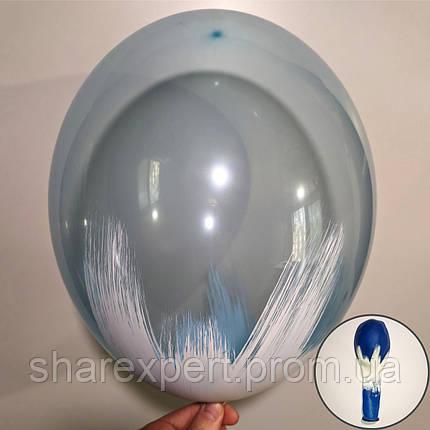 Білий на Синіх(кристал) латексних кульках, фото 2