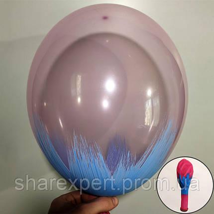 Блакитний на Рожевих(кристал) латексних кульках, фото 2