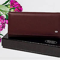 Женский кошелек красный Dr. Bond W-501 scarlet из натуральной матовой кожи гладкий на кнопке 18,5х9,5х3 см