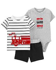 """Костюм для малыша Carters """"Пожарная машина"""" шорты, футболка и бодик"""