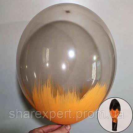 Оранжевый на Черных(кристалл) латексных шарах, фото 2