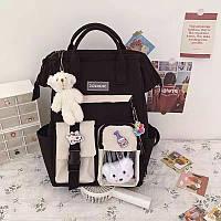 Рюкзак сумка для девочки Teddy Beer(Тедди) с брелком мишка черный.