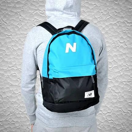 Чоловічий | жіночий міський, спортивний рюкзак, портфель New Balance, нью бэланс. Блакитний з чорним, фото 2
