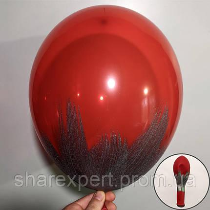 Серебро на Красных(кристалл) латексных шарах, фото 2