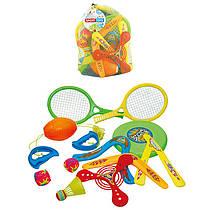 Детский летний спортивный набор - бадминтон, бумеранги, тарелка, ракетки и т.п.