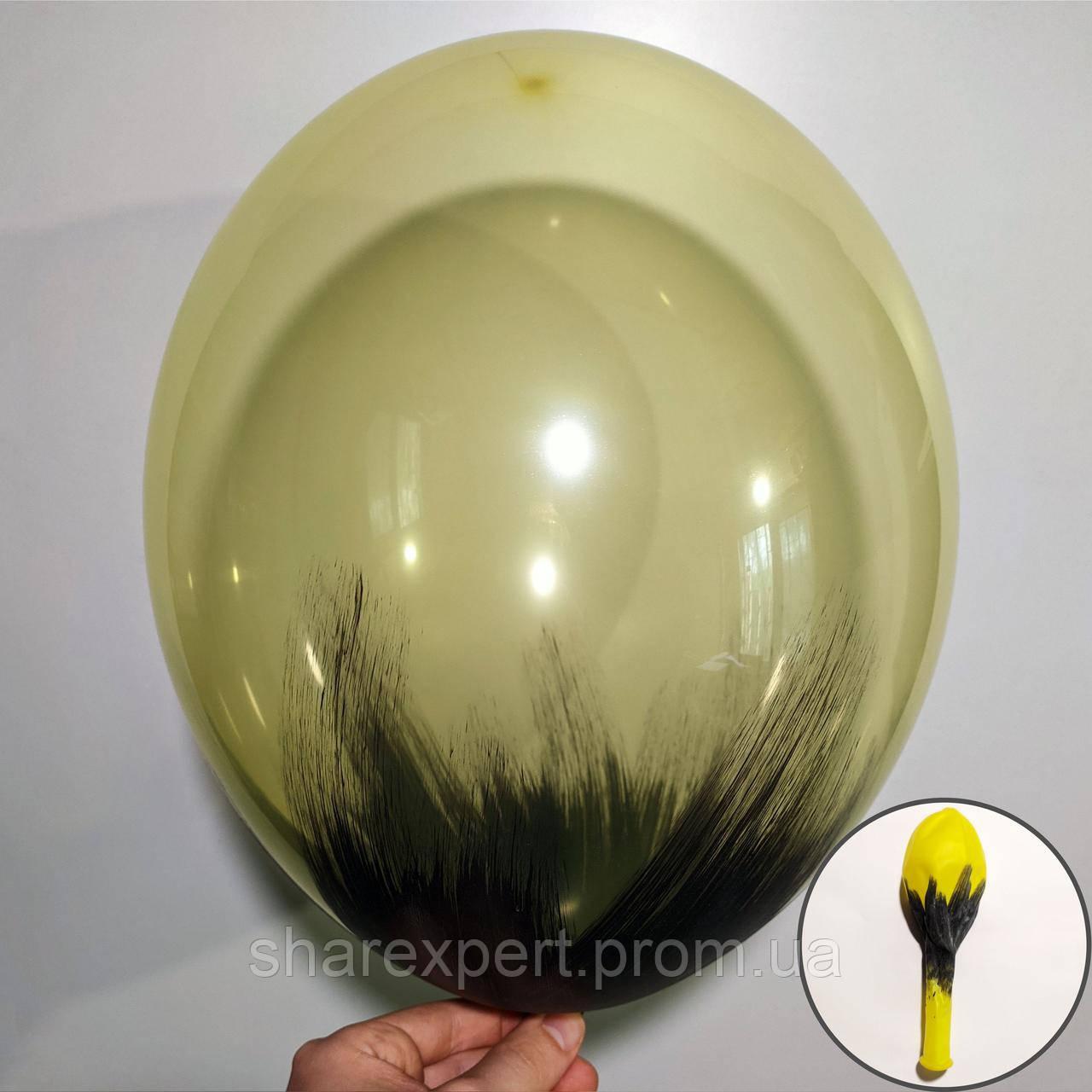 Черный на Желтых(кристалл) латексных шарах