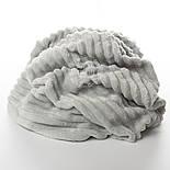 Клаптик плюшу в смужку stripes світло-сірого кольору, розмір 40 * 160 см (є забруднення), фото 2