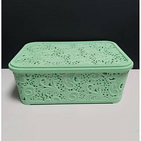 Корзина для хранения бытовых вещей Elif Plastik Ажур 4,7 л Мятный