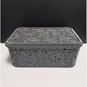 Корзина для хранения бытовых вещей Elif Plastik Ажур 4,7 л Серый