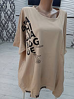Женская футболка супер батал трикотаж Турция Hew H.A.N 6 фиолетовый, жёлтый,красный,оливка, беж. 95%cotton