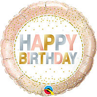 """Фольгированный шар  """"Happy birthday"""" нежный горошек"""