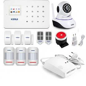 Бездротова GSM сигналізація Kerui G18 + зовнішня і внутрішня WI-FI IP-камера для 3-х кімнатної квартир