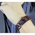 Мужской браслет плетеный из натуральной кожи ручной работы, фото 2