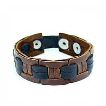Мужской браслет плетеный из натуральной кожи ручной работы