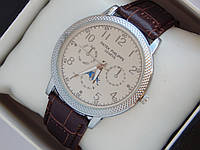 Мужские кварцевые наручные часы Patek Philippe на кожаном ремешке, фото 1