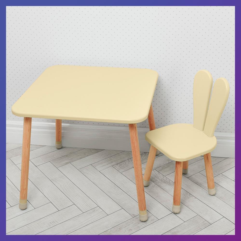 """Дитячий дерев'яний столик і стільчик """"Зайчик з вушками"""" 04-025BEIGE бежевий"""