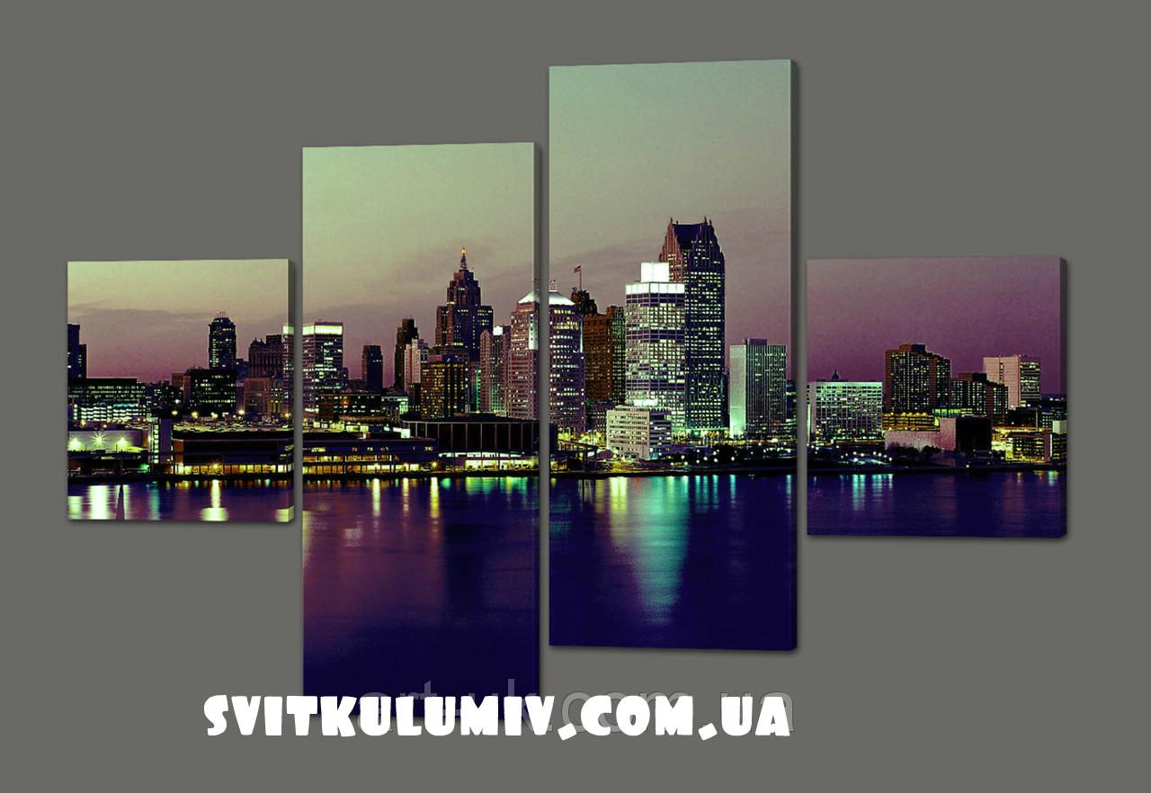 Модульная картина Ночной Нью-Йорк 160*114 см Код: 368.4к.160