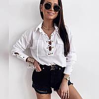 Женская рубашка на шнуровки с длинным рукавом, фото 1