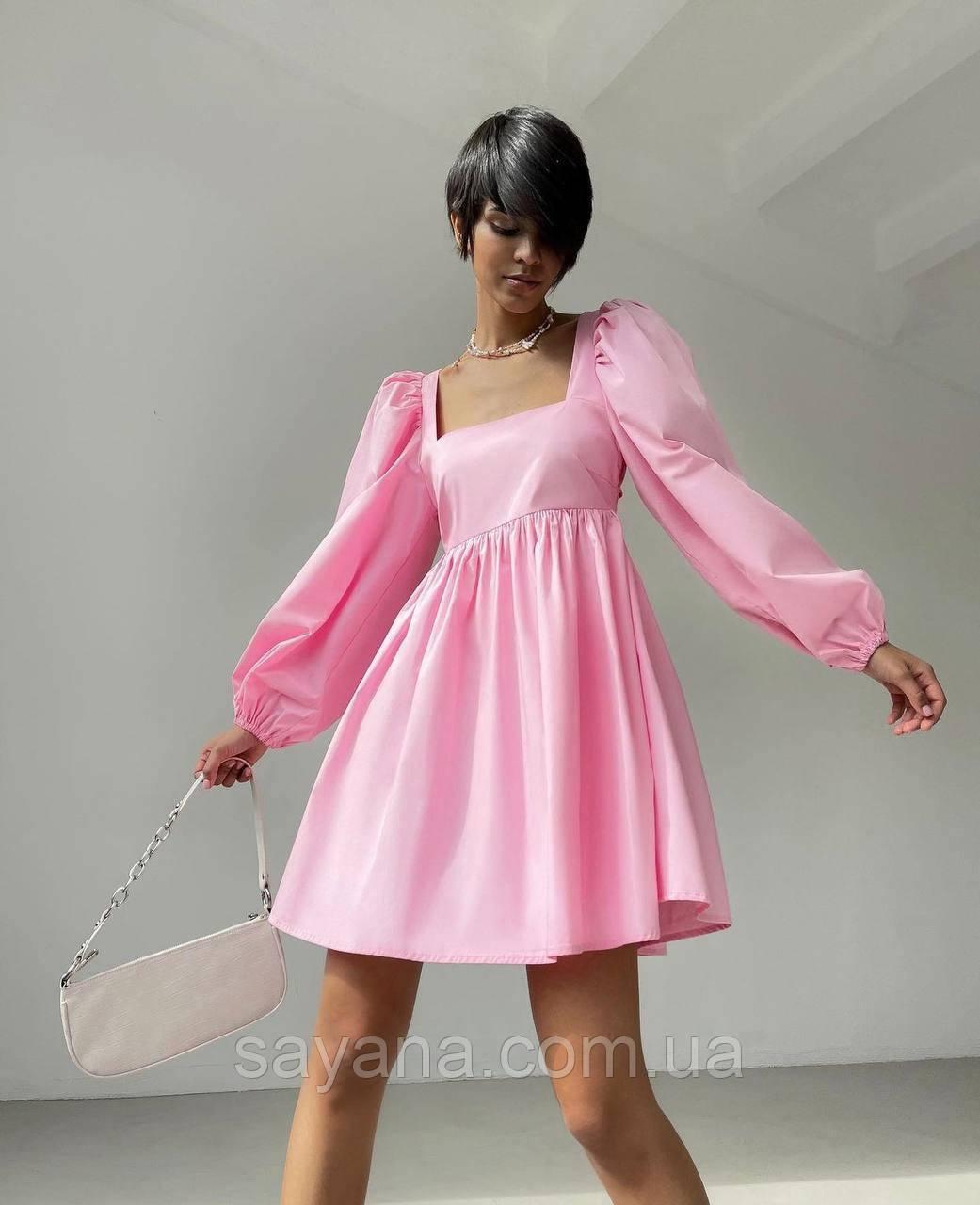 Жіноче літнє плаття з квадратним вирізом, відкритою спиною і розкльошеною спідницею, в кольорах. МР-4-0521