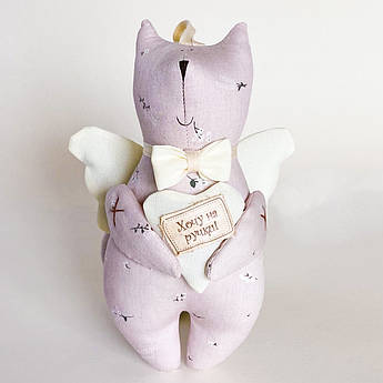 Кот мягкая игрушка тильда веточки на пыльно-розовом 16 см