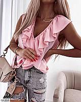 Женская летняя блузка без рукавов с рюшами