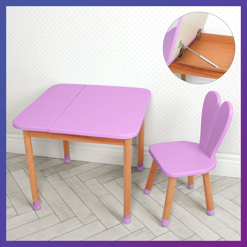 """Детский деревянный столик и стульчик """"Зайчик с ушками"""" 04-025VIOLET-BOX фиолетовый"""