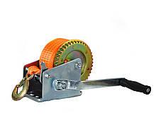 Лебедка ручная барабанная ленточная Polax 50 мм х 10м 2000 lbs 900 кг (01-007)
