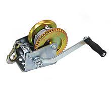 Лебедка ручная барабанная тросовая Polax стальной трос 10м 2000 lbs 900 кг (01-003)