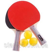 Набор для настольного тенниса 2 ракетки, 3 мяча MK 0204 (древесина, резина, пластик), фото 2