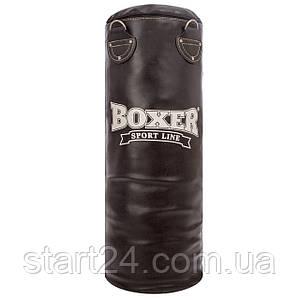 Мешок боксерский Цилиндр Кожа h-80см BOXER Классик 1001-04 (наполнитель-ветошь х-б, d-28см, вес-19кг, черный)