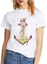 Женская футболка с принтом якорь