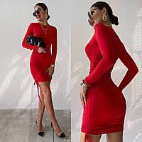 Женское стильное облегающее платье с длинным рукавом, фото 1