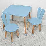 Дитячий дерев'яний столик і 2 стільці 04-025BLAKYTN + 1 блакитний, фото 2