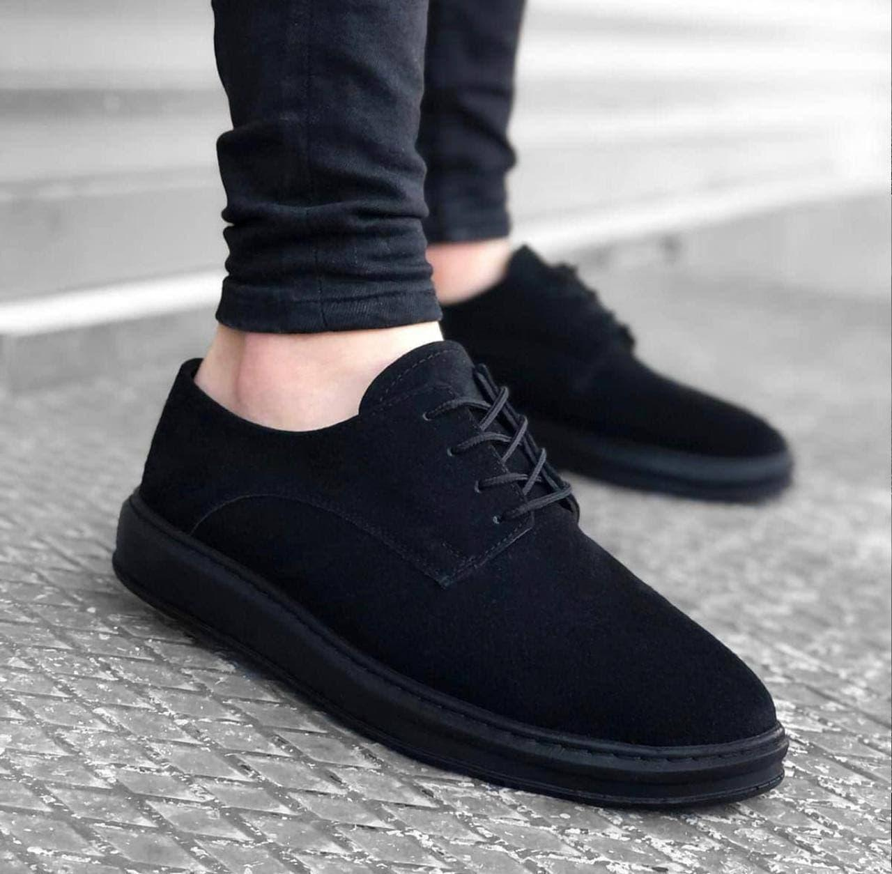 Мужские туфли черные под замшу
