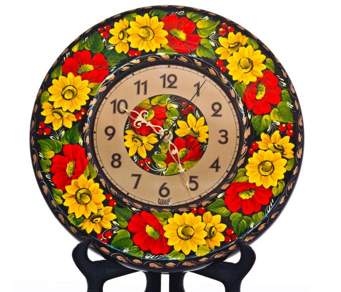 """Годинники дерев'яні """"Київська розпис. Соняшники"""" 29 см"""