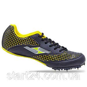 Шиповки беговые Health 190-1 размер 36-44 черный-желтый