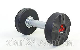 Гантель цельная профессиональная ZELART (1шт) DB6112-20 20кг (полиуретановое покрытие, вес 20кг)