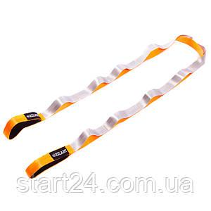 Лента для растяжки Record Stretch Strap FI-6666 (10 петель, полиэстер, р-р 4x220см, серый-оранжевый)