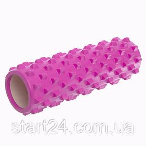 Роллер для занятий йогой и пилатесом Grid Bubble Roller l-45см FI-6672 (d-14см, l-45см, цвета в ассортименте)