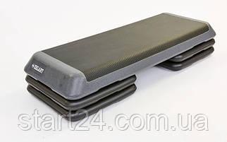 Степ-платформа FI-6772 (пластик,покрытие TPR,р-р 110Lx41Wx20Hсм, черный-серый)