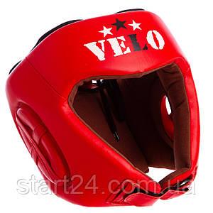 Шлем боксерский профессиональный кожаный AIBA VELO 3080 (р-р S-XL, цвет красный)