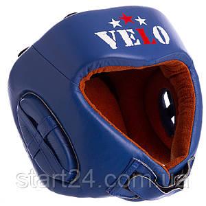 Шолом боксерський професійний шкіряний AIBA VELO 3081 (р-р S-XL, колір синій)