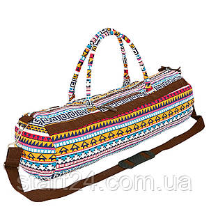 Сумка для йога коврика Yoga bag KINDFOLK FI-6969-4 (размер 20смх65см, полиэстер, хлопок, оранжевый-голубой)