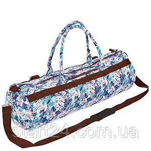 Сумка для йога коврика Yoga bag KINDFOLK FI-6969-5 (размер 20смх65см, полиэстер, хлопок, розовый-голубой)