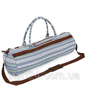 Сумка для йога коврика Yoga bag KINDFOLK FI-6969-6 (размер 20смх65см, полиэстер, хлопок, серый-синий)
