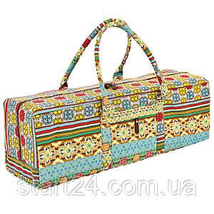 Сумка для фитнеса и йоги Yoga bag FODOKO FI-6970-3 (размер 20смх19смх64см, полиэстер, хлопок, бежевый-голубой)
