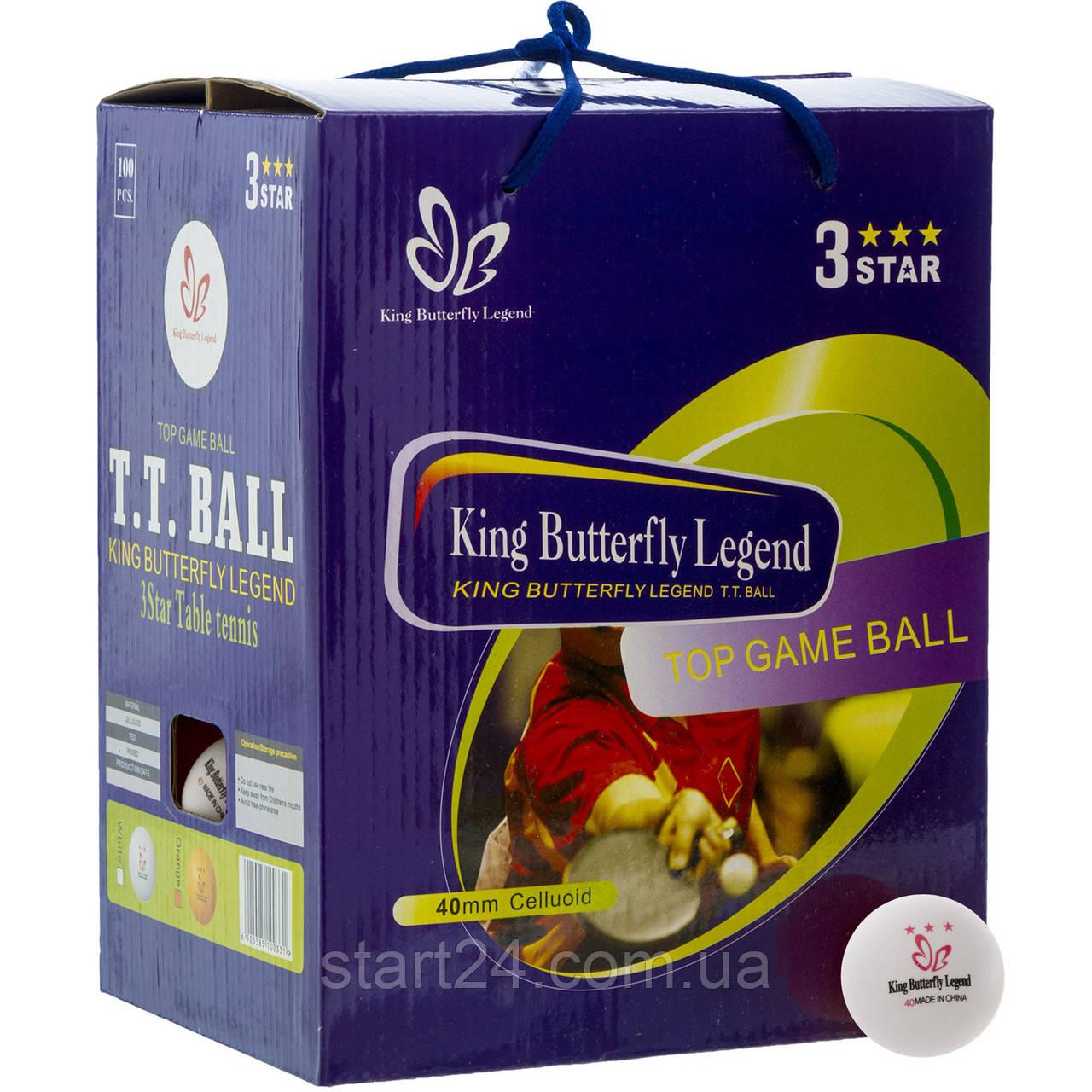 Набор мячей для настольного тенниса 100 штук в цветной картонной коробке BUT MT-8396 3star (d-40мм, цвета в