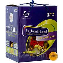 Набор мячей для настольного тенниса 100 штук в цветной картонной коробке BUT MT-8396 3star (d-40мм, цвета в, фото 3