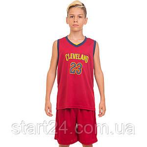 Форма баскетбольная подростковая NB-Sport NBA CLEVELAND 23 4310 (PL, р-р M-2XL-130-165см, бордовый-синий)