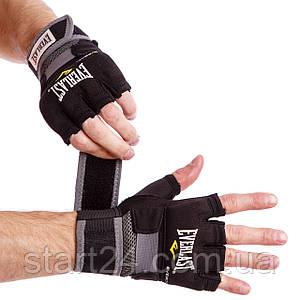 Перчатки-бинты внутренние гелевые из неопрена EVERLAST 4355B  HAND WRAPS (р-р M-XL, черный)